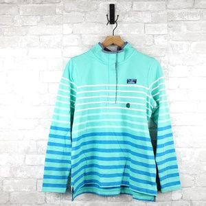 L.L. Bean Shoreline Aqua striped sweater | Size M